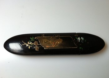 Antique 1860 abalone, pewter inlaid papier mache spectacle case.