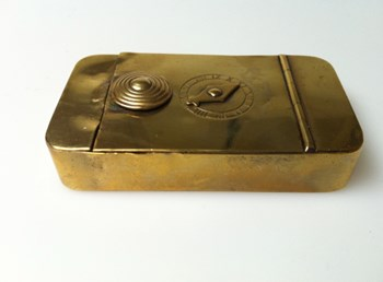 Antique 1820 brass I dial puzzle box.