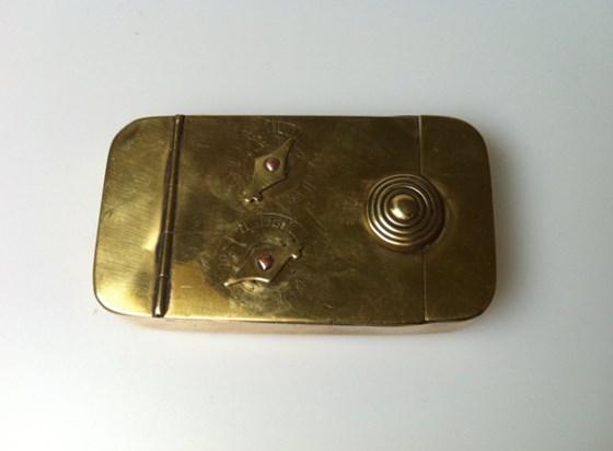 Antique 1820 brass 2 dial puzzle snuff box.
