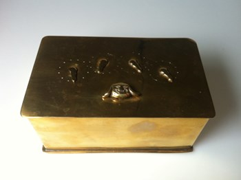 Antique brass puzzlebox, antique 1830 4 dial brass tabacco tin