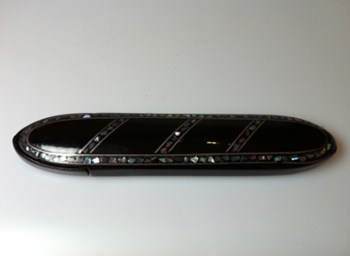 Antique 1870 abalone, Pewter inlaid papier mache spectacle case.