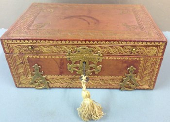 French Gilded Leather Box, c.1880.