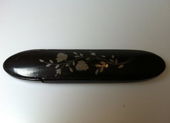 Antique 1860 abalone, pewter inland papier mache spectacle case.