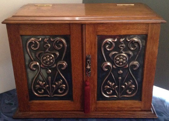 A fabulous Oak Combination Smokers and Games Cabinet, c.1910.