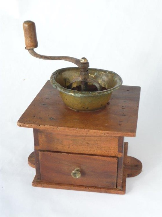 Antique Artisan Made Large French Coffee Grinder