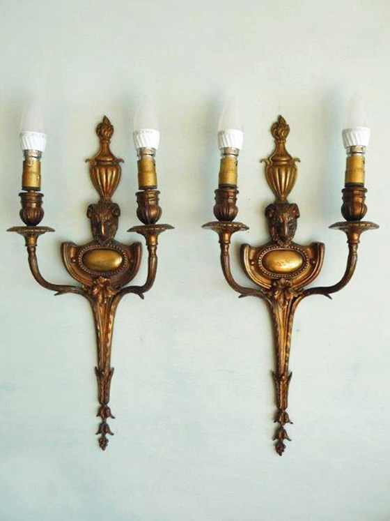 Pair of English Regency Style Brass Wall Sconces with Rams Head Detail