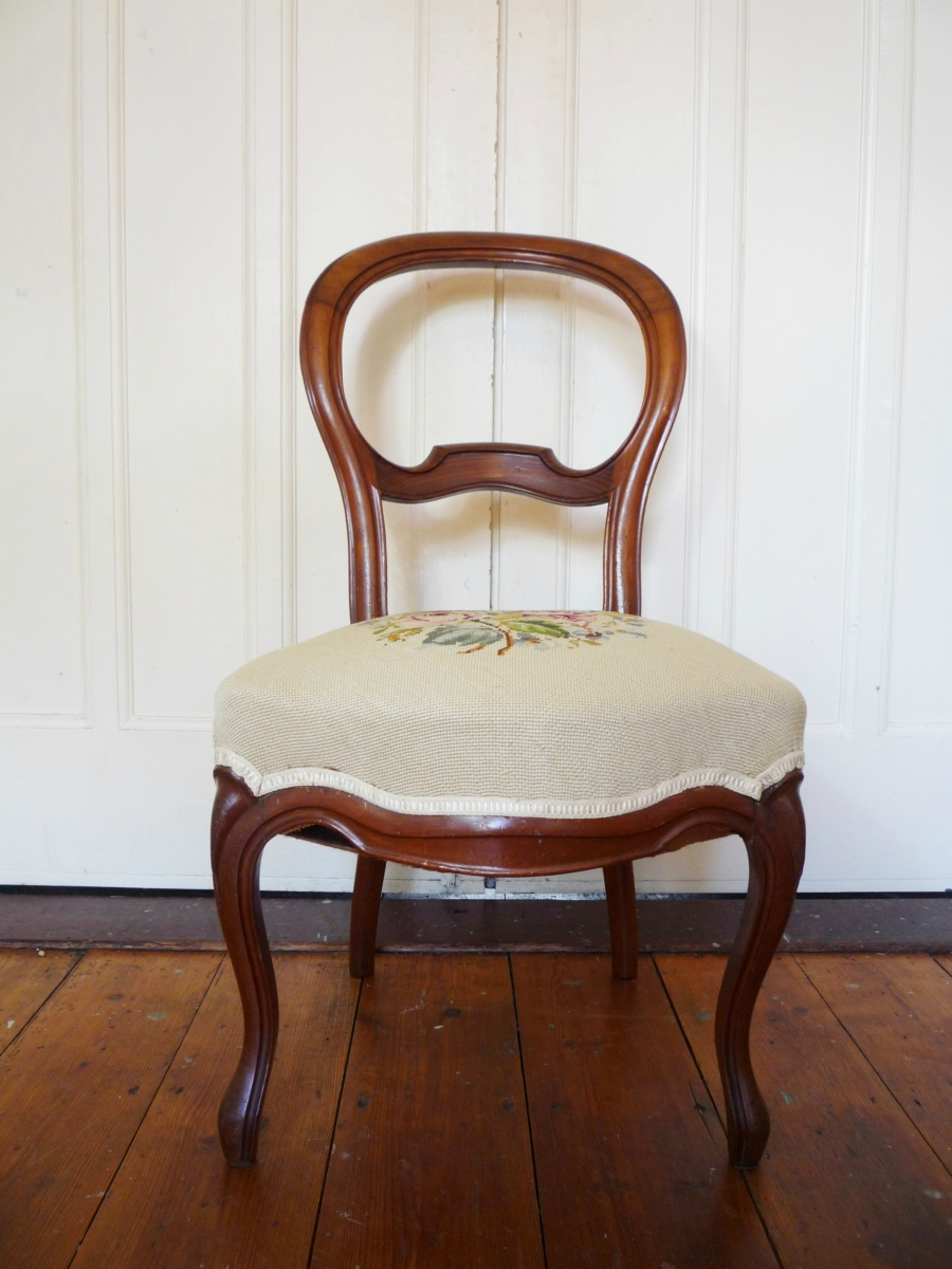 ... Pair of French Antique Balloon Back Needlepoint Salon Chairs ... - Pair Of French Antique Balloon Back Needlepoint Sa - The Antique