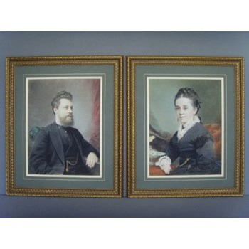 A FINE PAIR OF VICTORIAN PORTRAITS OF MAN & WIFE EXECUTED BY AN OUTSTANDING ARTIST IN PASTEL.