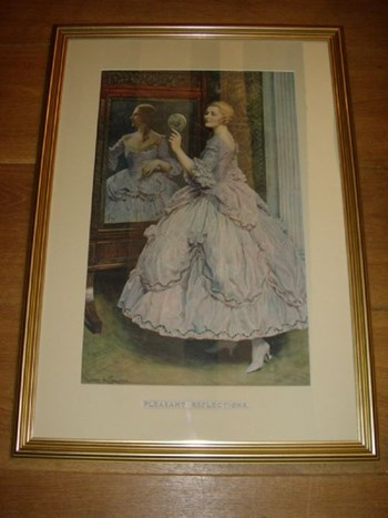 PRINT AFTER ALBERT H COLLINGS TITLED PLEASANT REFLECTIONS REFRAMED C1900 15 X 21 INCHES.