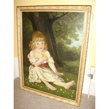 19TH CENTURY VICTORIAN OIL PORTRAIT PAINTING ON CANVAS.