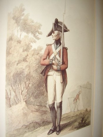 EARLY 19TH CENTURY CHROMO-LITHOGRAPH OF A FOOT SOLDIER FIRST PUBLISHED LONDON.