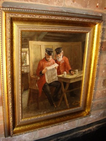 OIL PORTRAIT PAINTING ON CANVAS OF CHELSEA PENSIONERS BY DAVID W.HADDON (1884-1911).