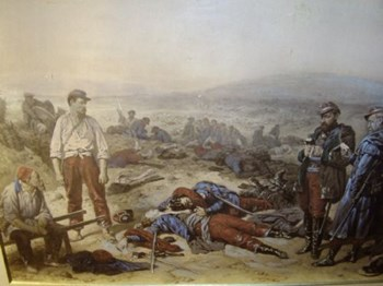 """CRIMEAN WAR SCENE TITLED """"THE TWO FRIENDS"""" AND DEPICTING THE BATTLE OF SEBASTAPOL."""