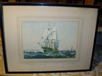 """QUALITY PRINT OF SAILING SHIP SIGNED ON BORDER BY ARTIST """" G.S.BAGLEY """" C1900 17 X 13 INCHES."""
