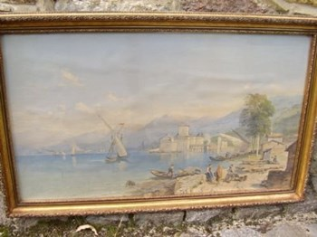 VICTORIAN PRINT OF THE BAY OF NAPLES AFTER AN ORIGINAL WATERCOLOUR PAINTING.