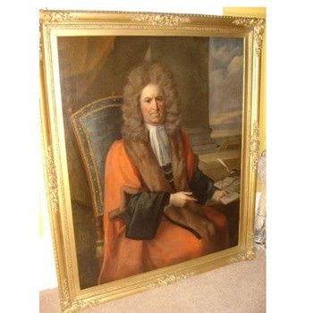 17TH OIL PORTRAIT OF JUDGE SIR ROBERT DORMER MP & ATTRIBUTED TO THOMAS HILL B.1661 - D1734.