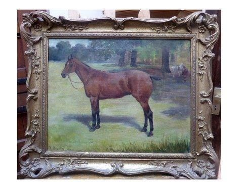 Horse Oil Painting Dated c1904 in Beautiful Frame.