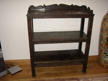 EBONISED OAK CARVED BUFFET SERVER C 1711.