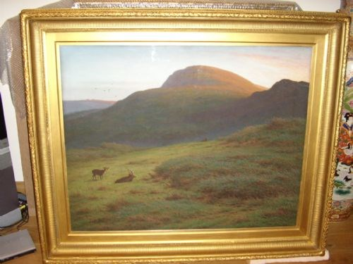 ROYAL ACADEMY EXHIBITED LANDSCAPE PAINTING BY ARTIST J.KNIGHT DEPICTING.