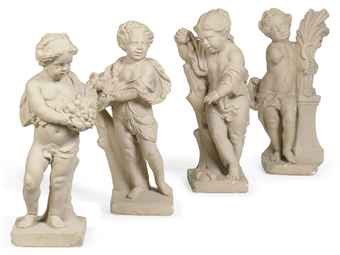 Four early 20th century Baroque style figures of the Seasons in the manner of Pieter van Baurscheit