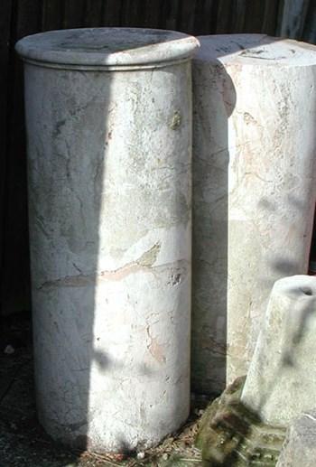 Two 'Jasper' Marble column pedestals