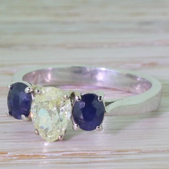 Victorian 1.10 Carat Old Pear Cut Diamond & Sapphire Trilogy Ring, circa 1870