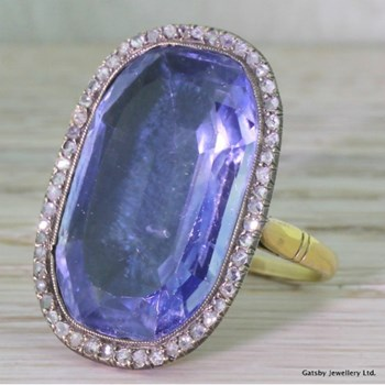 Georgian 25.30 Carat Natural Ceylon Sapphire & Diamond Ring, circa 1800