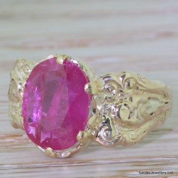 Early Victorian 2.75 Carat Oval Cut Ruby Ring, circa 1850