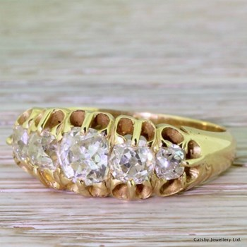 Victorian 2.00 Carat Old Mine Cut Diamond Five Stone Ring, circa 1880