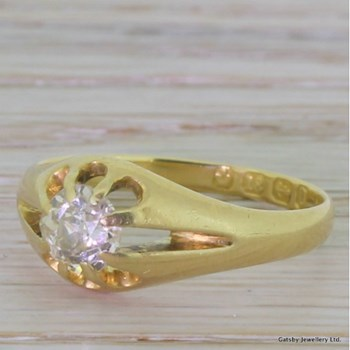 Victorian 0.65 Carat Old Cut Diamond Ring, Birmingham, dated 1888