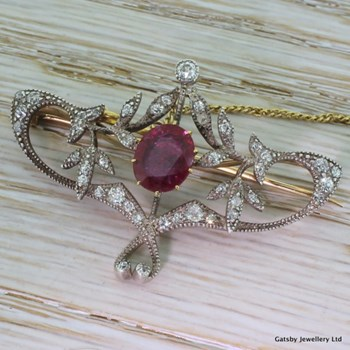 Belle Epoque 2.00 Carat Ruby & Old Cut Diamond Brooch, circa 1875