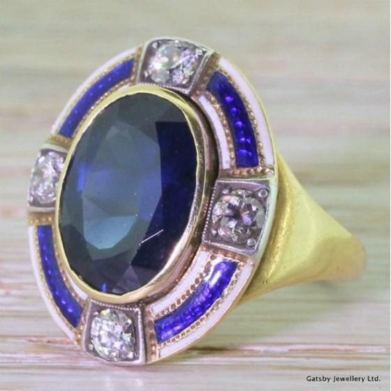 Victorian 5.50 Carat Sapphire, Diamond & Enamel Ring, circa 1880