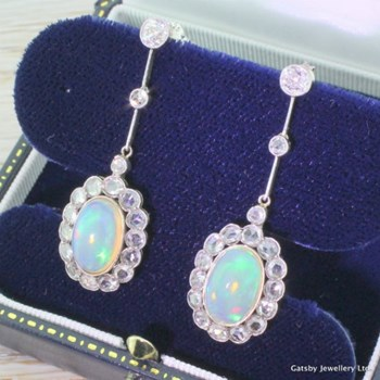 Edwardian Opal & Diamond Drop Earrings, circa 1910
