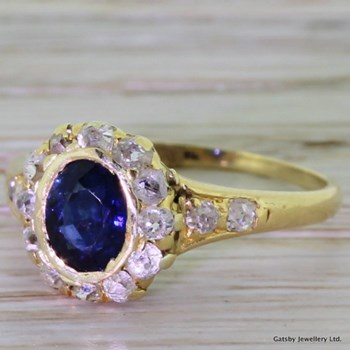 Victorian 0.50 Carat Sapphire & 0.42 Carat Old Cut Diamond Ring, circa 1890