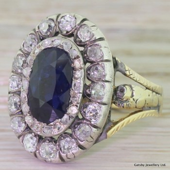 Georgian 2.75 Carat Sapphire & Old Cut Diamond Double Cluster Ring, circa 1800