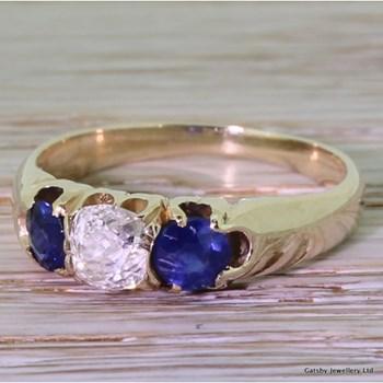 Victorian Diamond & Sapphire Trilogy Ring, circa 1880