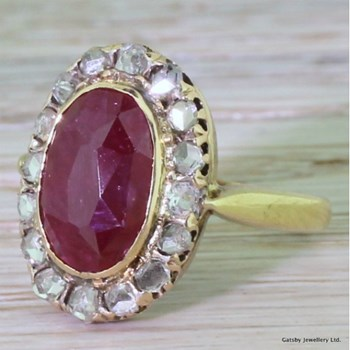 Victorian 4.00 Carat Ruby & Rose Cut Diamond Cluster Ring, circa 1870