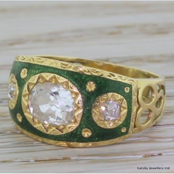 Victorian 0.90 Carat Old Oval Cut & Enamel Band Ring, French, circa 1900