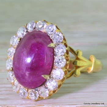 Victorian 10.00 Carat Cabochon Ruby & 1.70 Carat Old Cut Diamond Cluster Ring, circa 1890