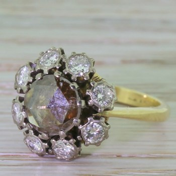 Georgian 1.32 Carat Natural Cognac Rose Cut Diamond Cluster Ring, circa 1810