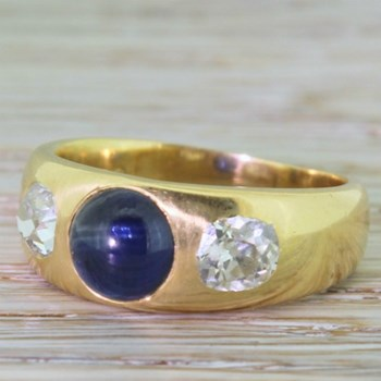 Victorian Cabochon Sapphire & Old Cut Diamond Band Ring, circa 1880