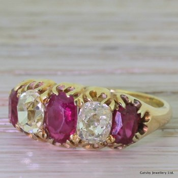 Victorian 1.74 Carat Ruby & 1.30 Carat Diamond Five Stone Ring, circa 1850