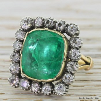 Victorian 6.50 Carat Emerald & 2.70 Carat Old Cut Diamond Ring, circa 1870
