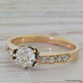 Victorian 0.75 Carat Old Cut Diamond Rose Gold Engagement Ring, circa 1900