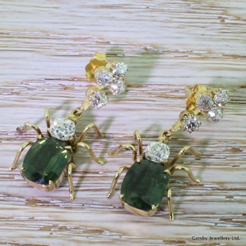Victorian Green Sapphire & Old Cut Diamond Insect Earrings, circa 1900