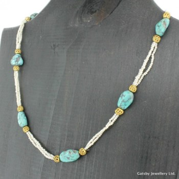 Victorian Turquoise & Seed Pearl Necklace, circa 1900