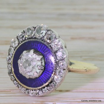 Georgian 1.45 Carat Old Cut Diamond & Enamel Cluster Ring, circa 1820