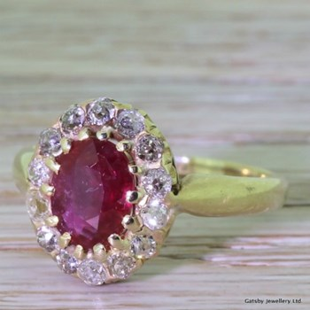 Victorian 1.25 Carat Ruby & 0.45 Carat Old Cut Diamond Cluster Ring, circa 1900