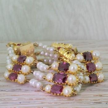 Victorian Burmese Ruby & Natural Pearl Bracelet, circa 1900