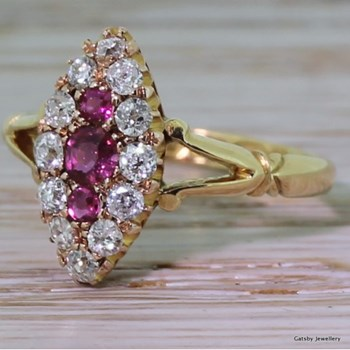 Victorian Ruby & Diamond Marquise Shape Cluster Ring, dated 1893